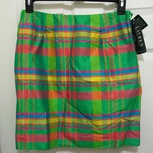 Lauren Ralph Lauren 8 Medium 100% Silk Plaid Skirt